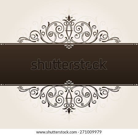 place template for text. vintage frame decorated with antique ornaments black. vector copy in my portfolio - stock photo