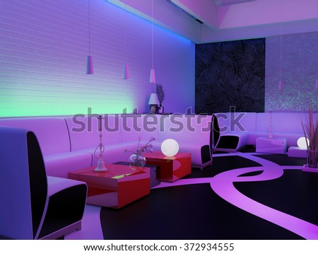 place to relax in a nightclub, 3d rendering - stock photo