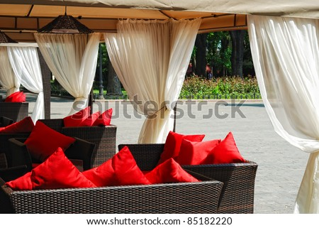 place to relax, sofas with cushions - stock photo