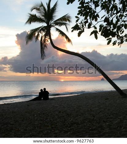 place to romance, salines beach, Martinique - stock photo