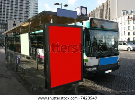 Place your ad on bus stop board (With clipping paths) - stock photo