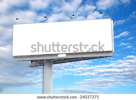 Place your text here - empty ad space in the sky with clouds - stock photo