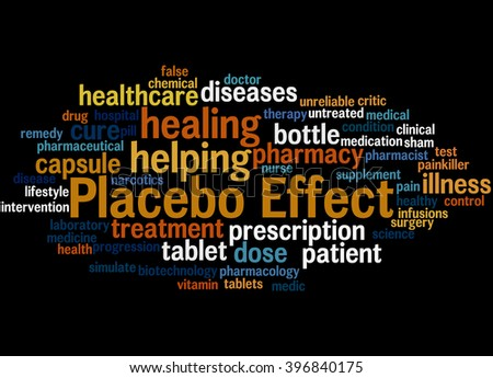 Placebo Effect, word cloud concept on black background.