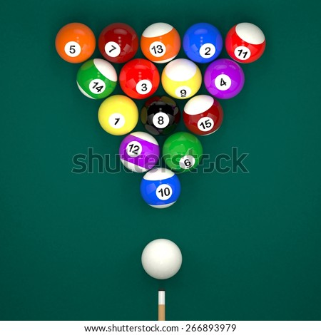 Placed billiard balls on table with cue on green table background