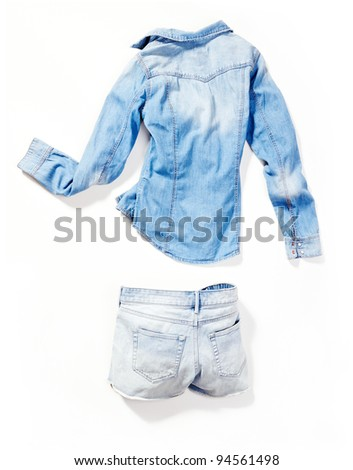 placed denim in action: female bleached shirt and light bleached pants