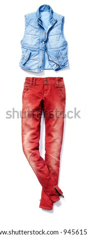 placed denim in action: female red jeans and vest - stock photo