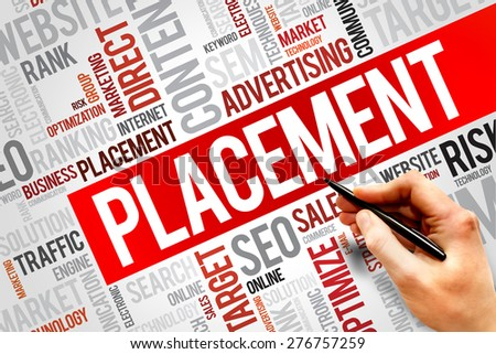 PLACEMENT word cloud, business concept - stock photo