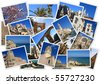 Places in Spain in collage with several shots on white background - stock photo