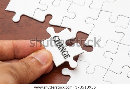 Placing missing a piece of puzzle with change word written.