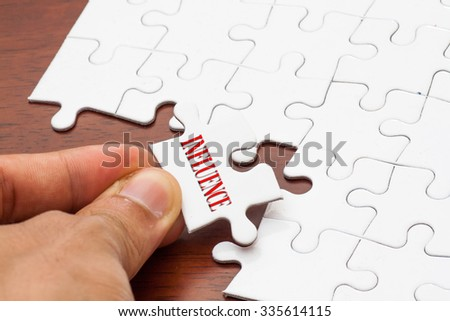 Placing missing a piece of puzzle with influence word