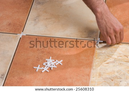 Placing spacers - stock photo