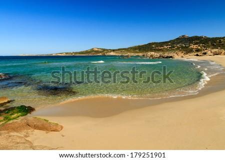 Plage de Petra Muna near Calvi in the Balagne region of Corsica - stock photo