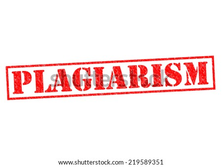 PLAGIARISM red Rubber Stamp over a white background. - stock photo