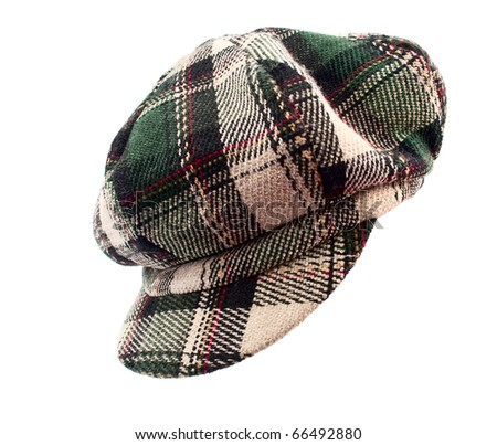 plaid cap with a white background