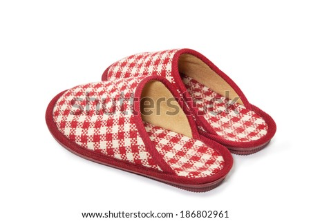 Plaid Room Shoes isolated on white background - stock photo