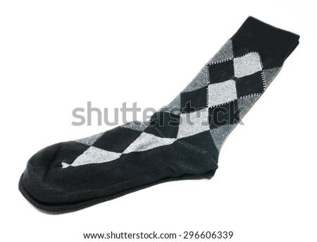 plaid sock isolated in white background - stock photo
