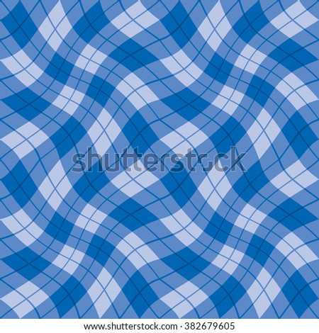 Plaid Twist seamless wavy gingham pattern in shades of blue. - stock photo