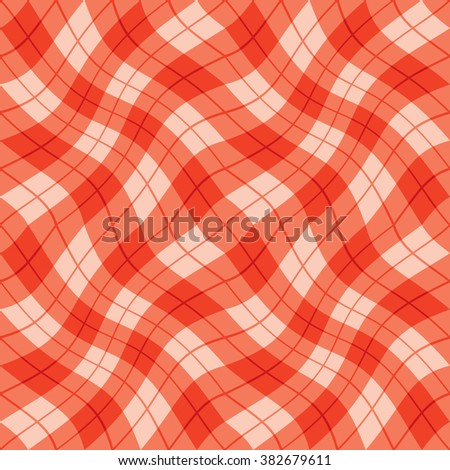 Plaid Twist seamless wavy gingham pattern in shades of red. - stock photo