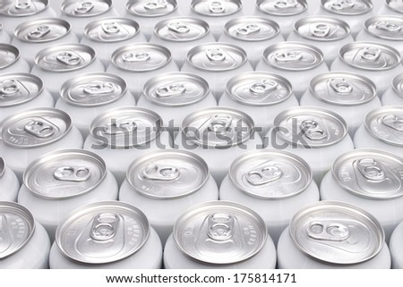Plain Aluminum Beverage Cans Filling the Frame - stock photo