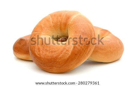 plain bagels isolated on white  - stock photo