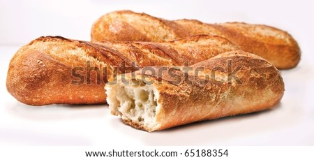 Plain Baguettes on white - stock photo