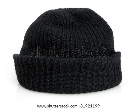 Plain black knit cap isolated on a white background - stock photo