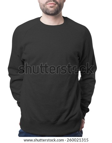 plain black male jumper isolated on white with clipping path both for background and garment - stock photo