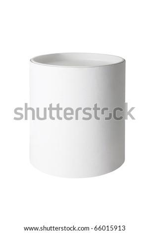 Plain blank white round tub or box isolated on a white background - stock photo