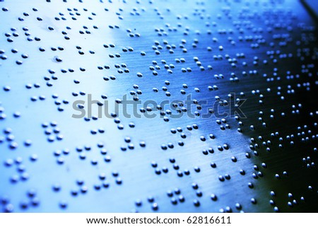 Plain Braille Page Macro with blue toned . - stock photo
