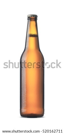 Plain brown beer bottle mockup isolated on white background