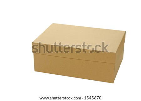 Plain brown box with lid closed - stock photo