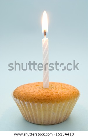Plain cupcake with single white candle emphasising simplicity