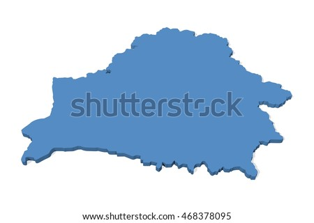 Plain 3D map of Belarus on a white background