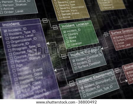Plain database structure with lighting effect. - stock photo