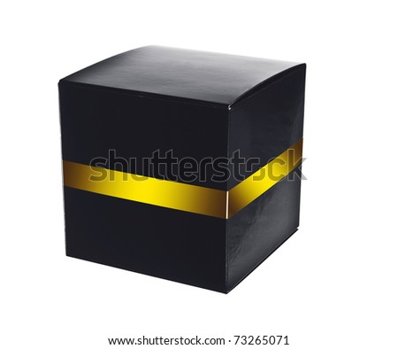 Plain empty packaging black box with gold label - stock photo