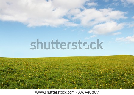 Plain Flower Hills with Blue Sky