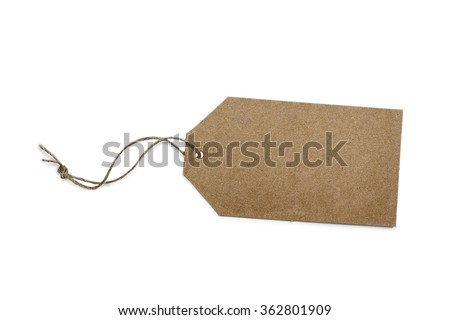 Plain gift or sales tag with rustic string isolated on white background with light shadow. Blank, with copy space. Clipping path included. - stock photo