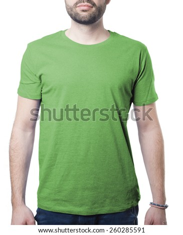 plain green male tshirt template isolated on white with clipping path for background and garment - stock photo