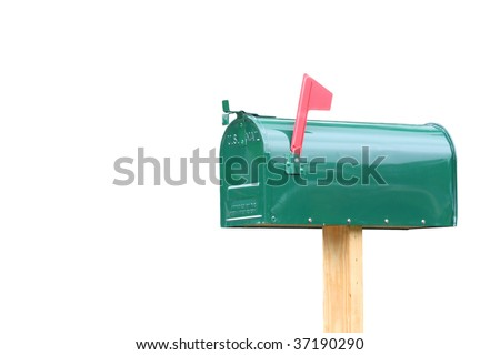 Plain green metal mailbox isolated on white