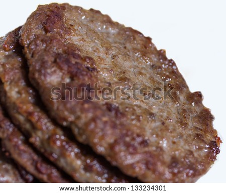 plain hamburger pattys - stock photo