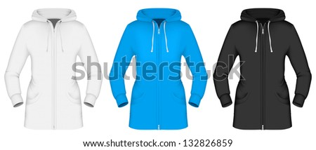 Plain hooded jacket template. - stock photo