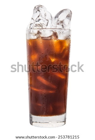 Plain ice coffee over white background - stock photo