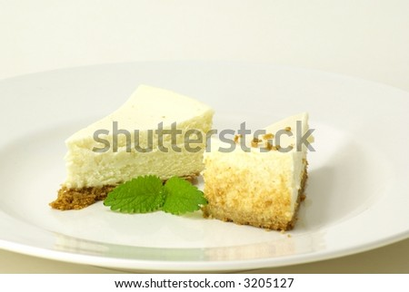 Plain New York style cheesecake slice with garnish of lemon balm (mint) leaves.