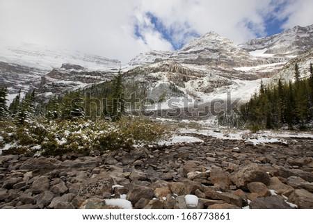 Plain of Six Glaciers rest area - stock photo