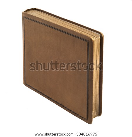 Plain old bound book on white with path - stock photo