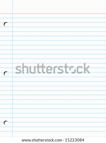 Plain piece of Notebook Paper Illustration