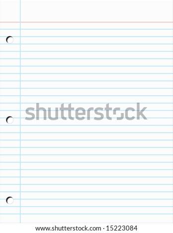 Plain piece of Notebook Paper Illustration - stock photo