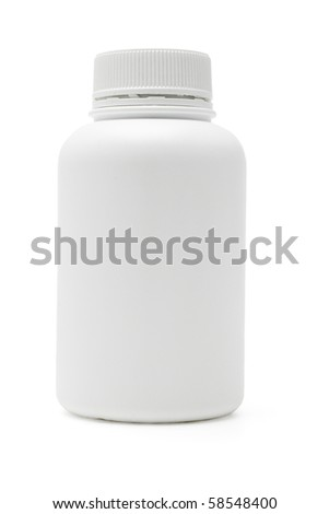 Plain plastic medicine container on white background