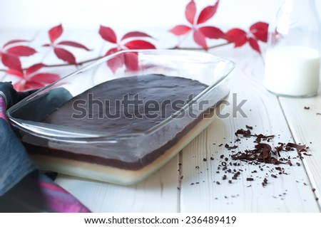plain pudding with melted dark chocolate topping (prenses tatlisi) - stock photo