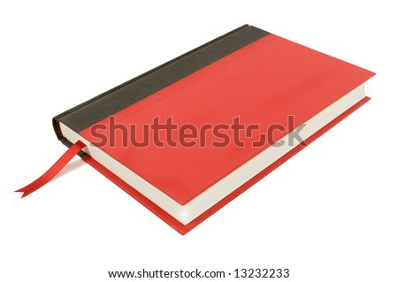 Plain red and black hardback book with red ribbon bookmark isolated on a white background. - stock photo
